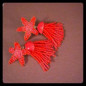 J Crew Coral beaded earrings